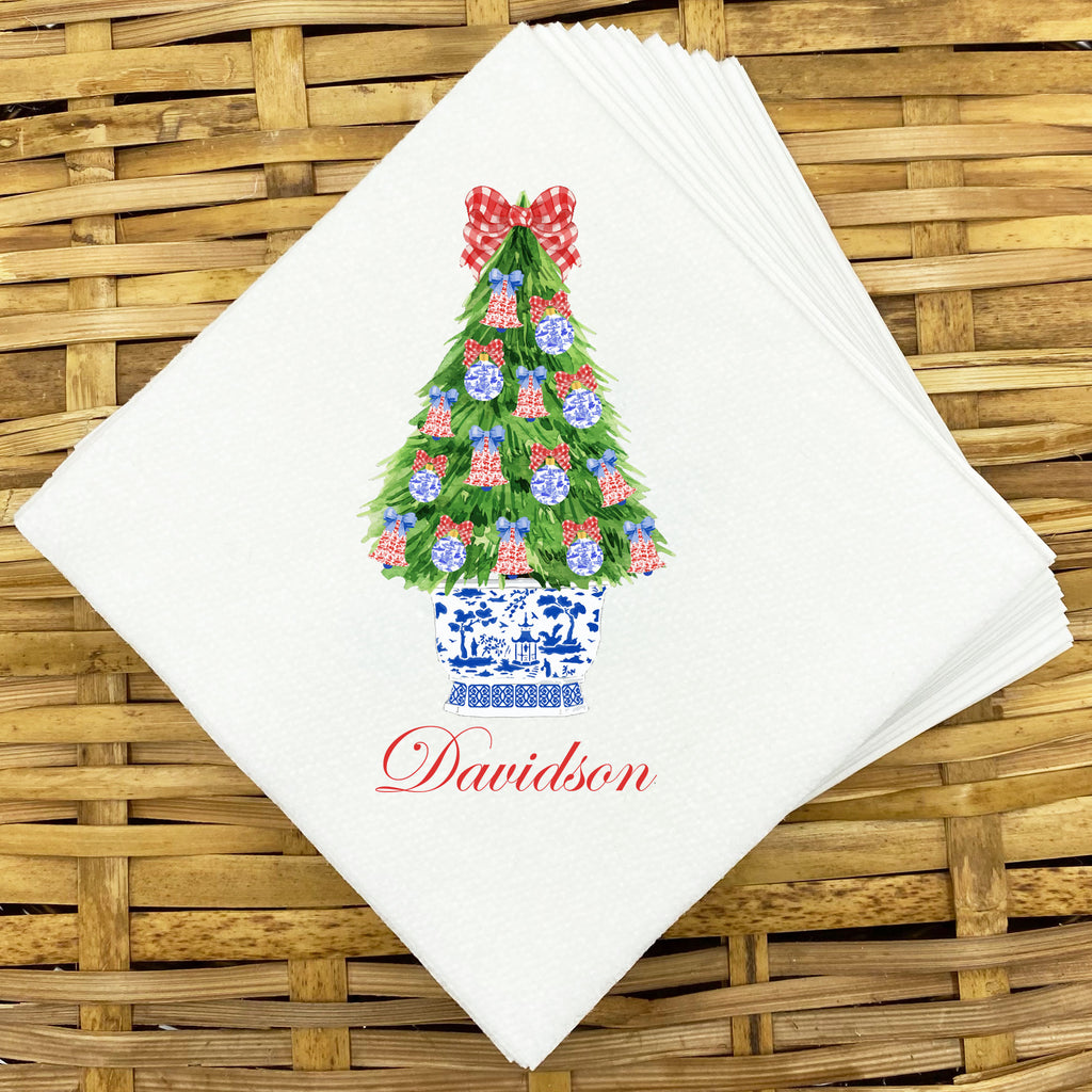 Red and Blue Christmas Tree Napkins and Guest Towels