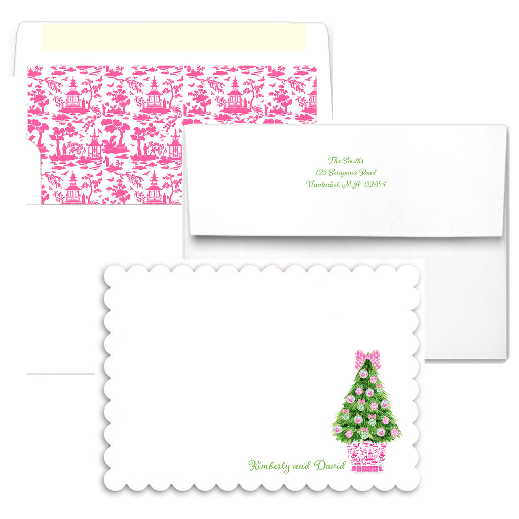 Pink and Green Christmas Tree Scalloped Notecards
