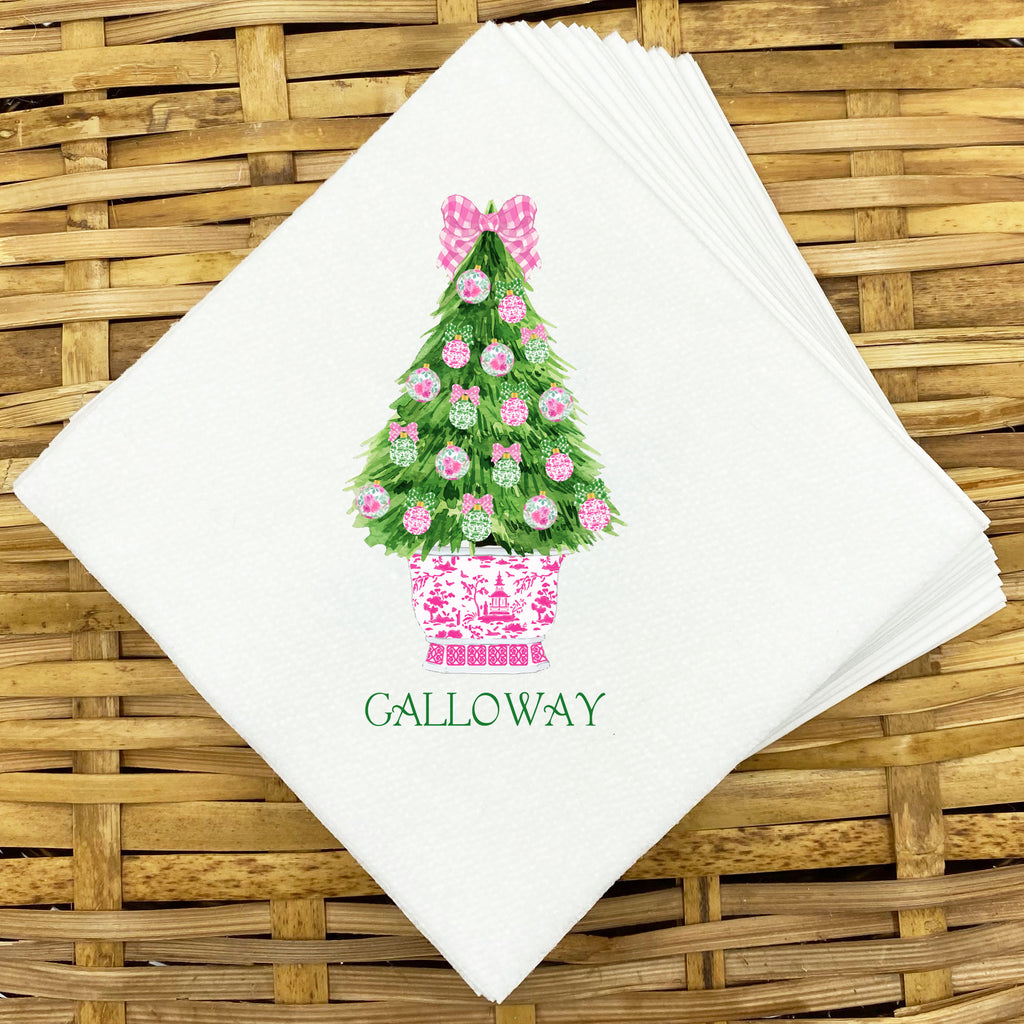 Pink and Green Christmas Tree Napkins and Guest Towels