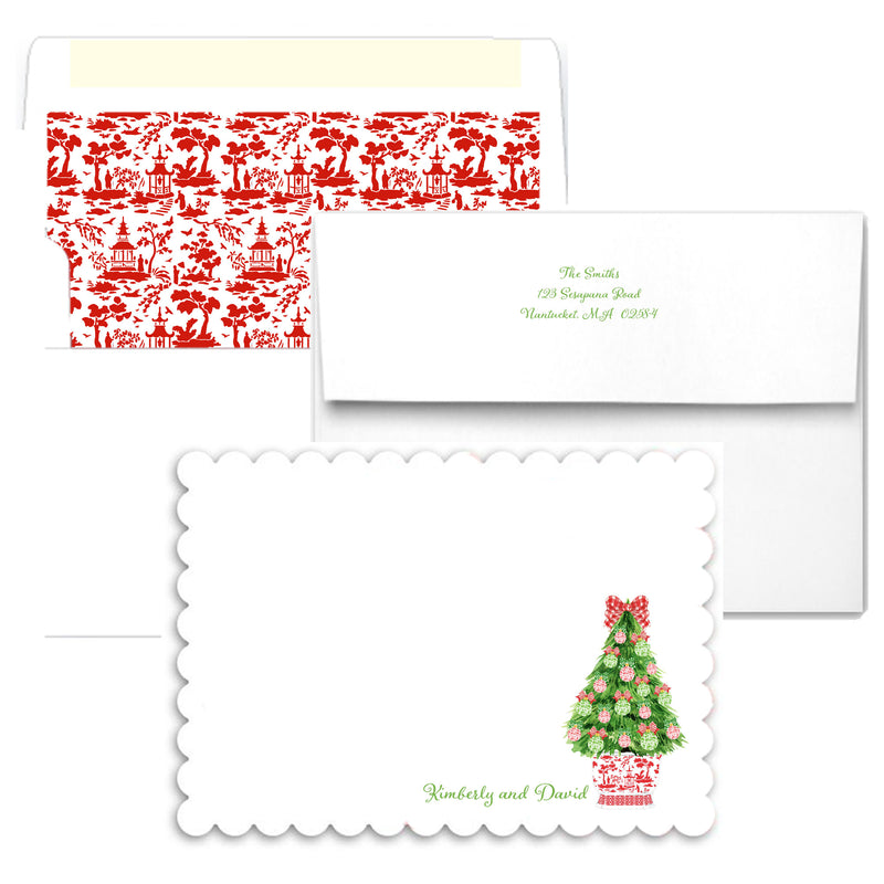 Red and Green Christmas Tree Scalloped Notecards