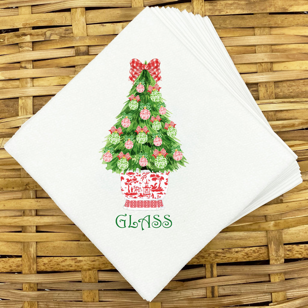 Red and Green Christmas Tree Napkins and Guest Towels