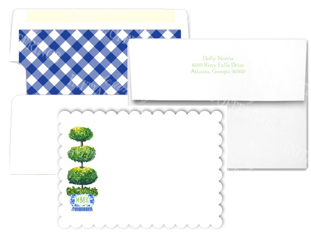 Triple Topiary Scalloped Notecards