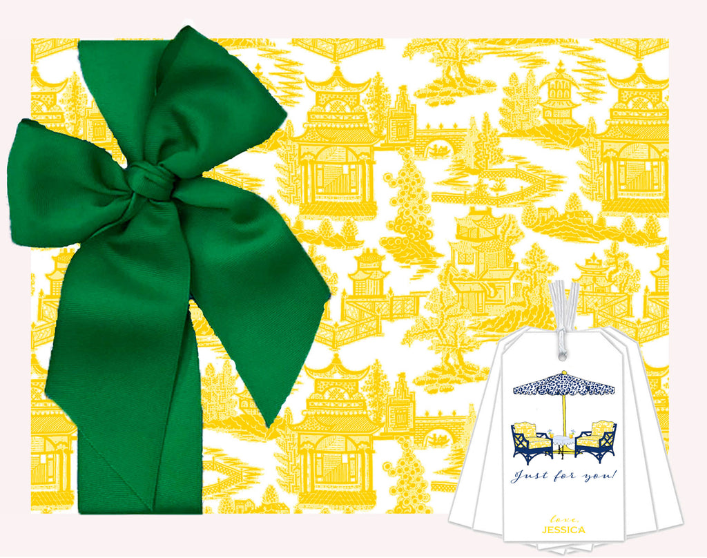 Pagoda Chinoiserie in Yellow Gift Wrap Paper