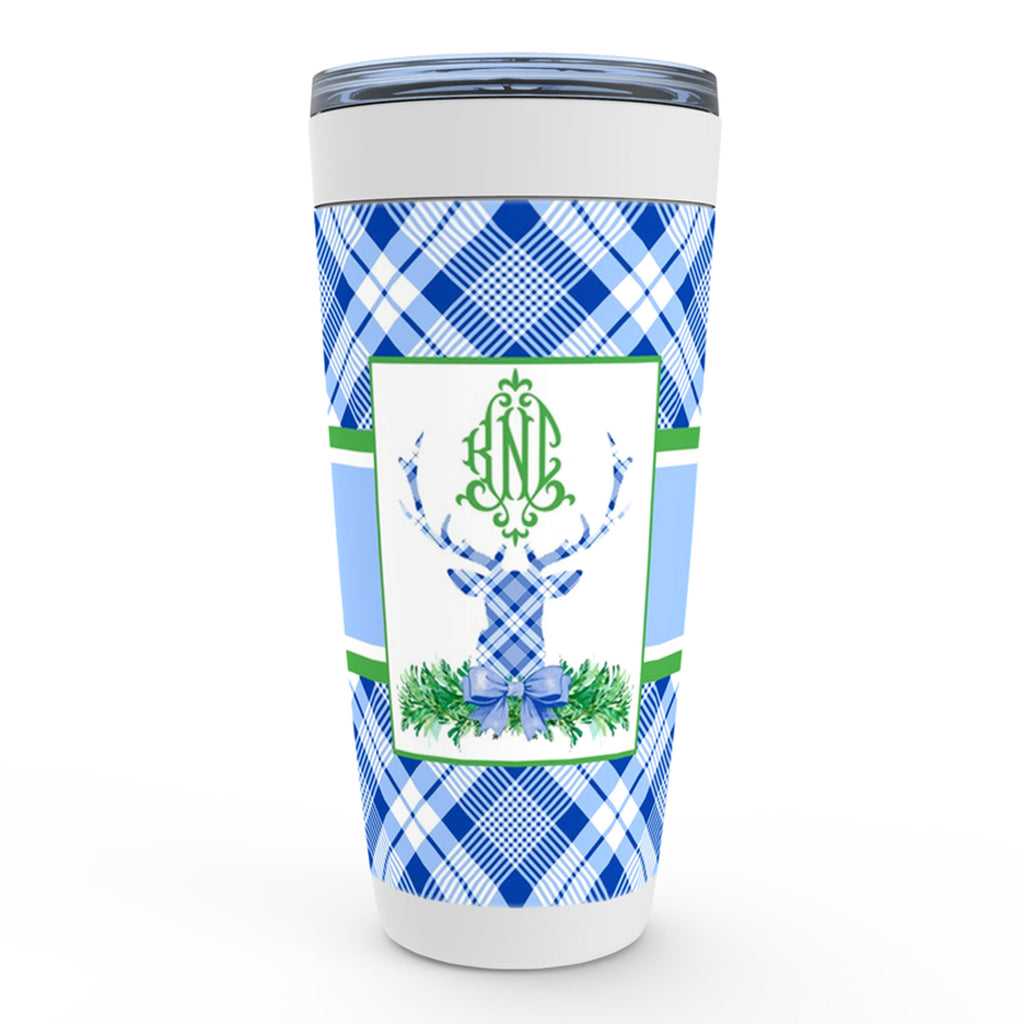 Blue Plaid Stag Head Swag Viking Tumbler