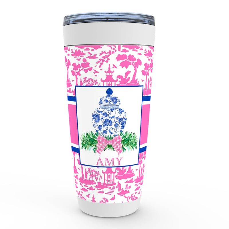 Ginger Jar Swag with Pink Bow Viking Tumbler