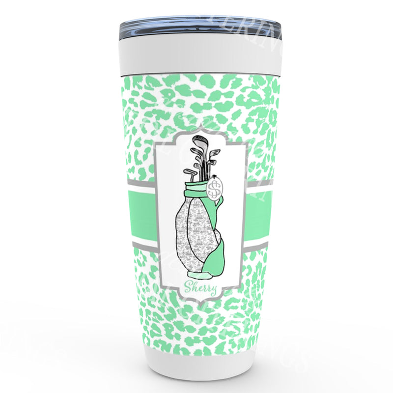 Mint and Grey Golf Bag Viking Tumbler