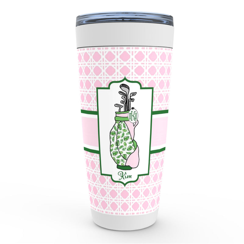 Golf Bag in Pink and Green Viking Tumbler