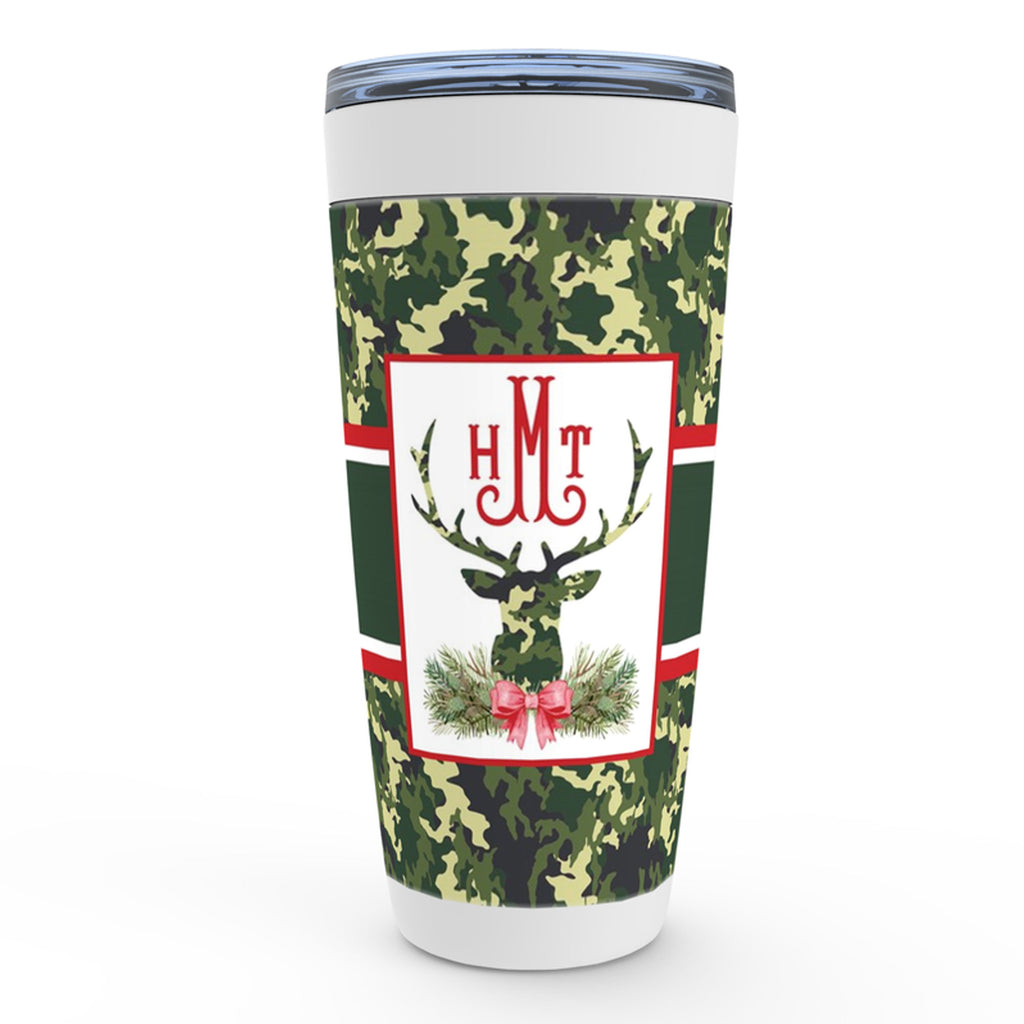 Green Camo Stag Head Swag Viking Tumbler