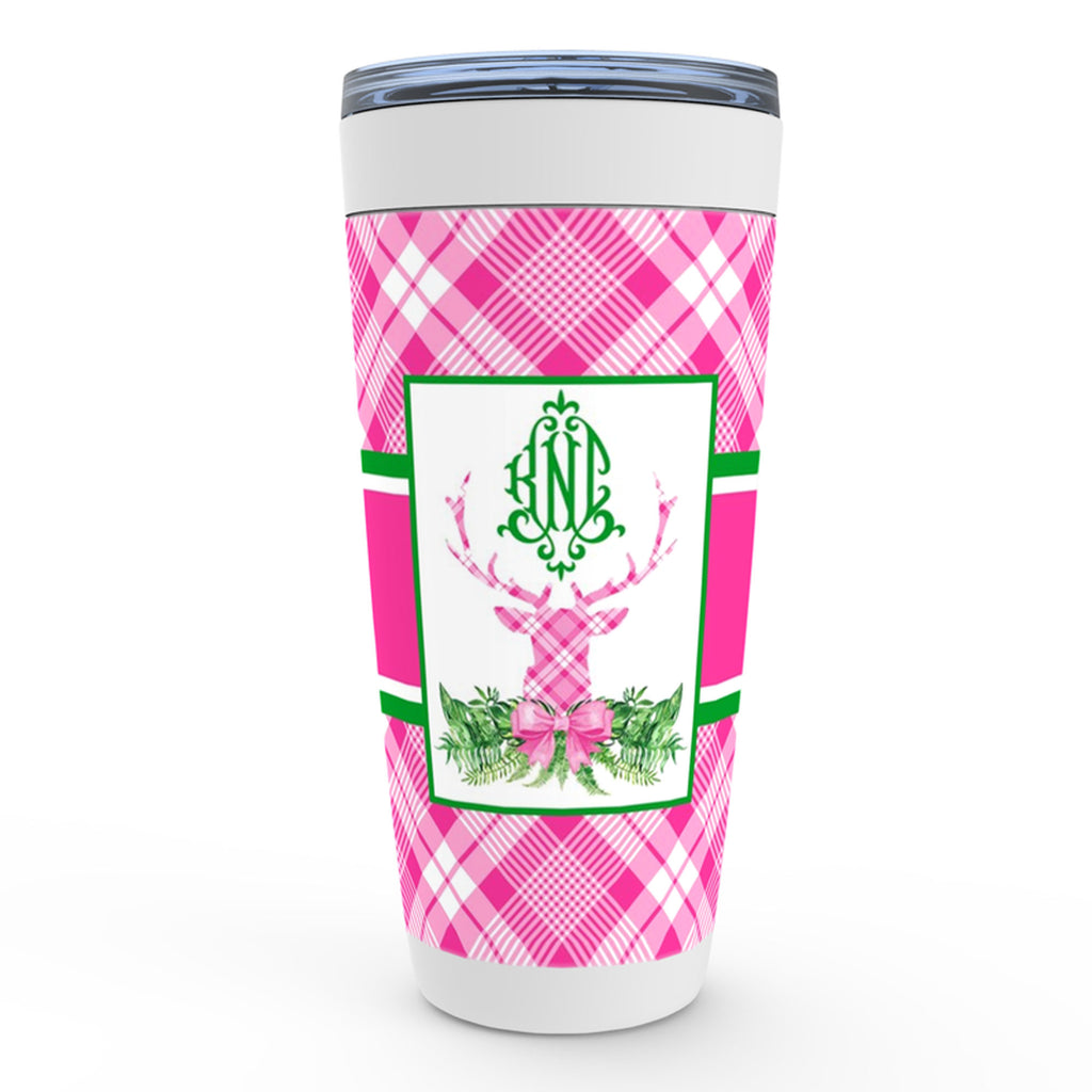 Pink and White Plaid Stag Head Swag Viking Tumbler