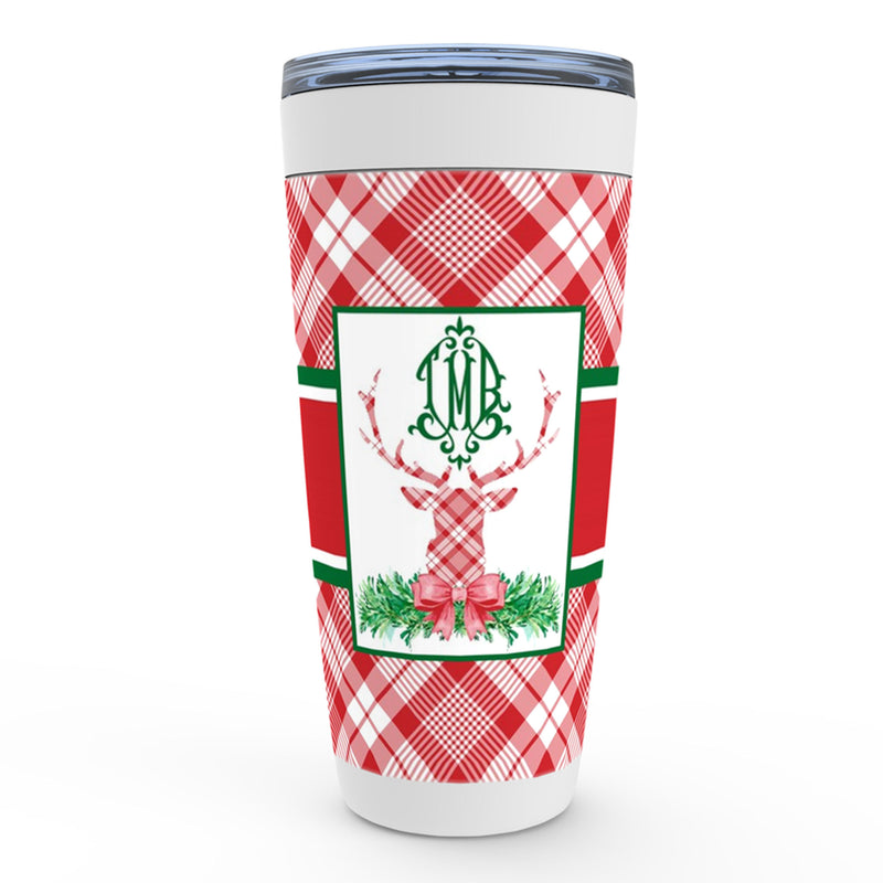 Red Plaid Stag Head Swag Viking Tumbler