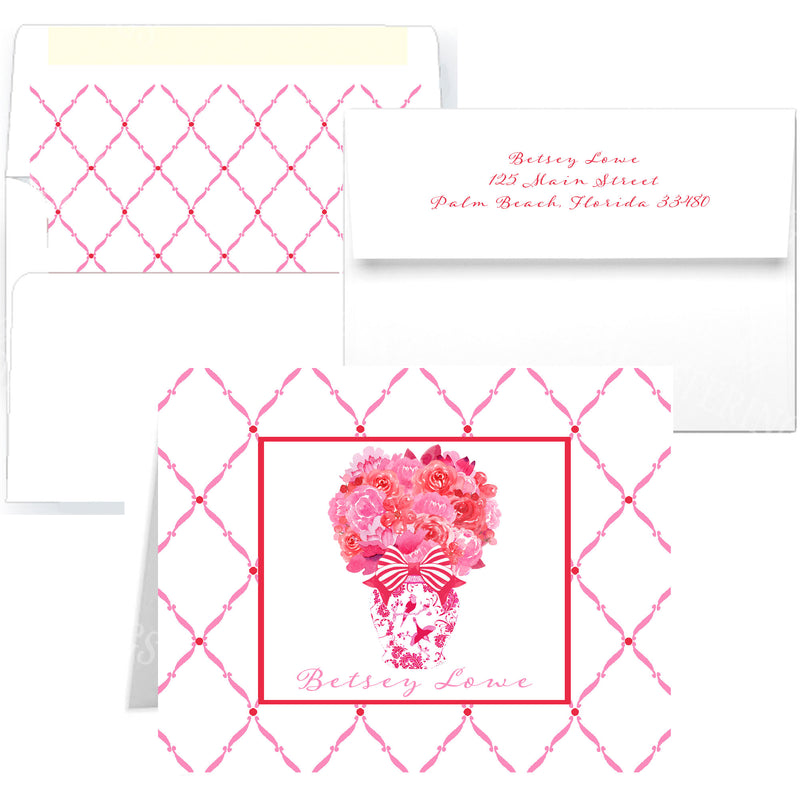 Pink and Red Bouquet Notecards