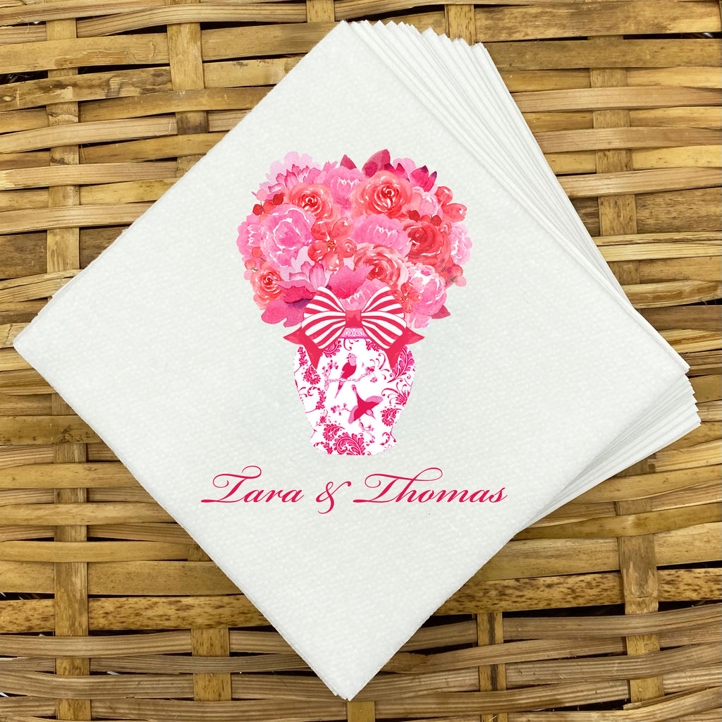 Pink and Red Bouquet Napkins and Guest Towels