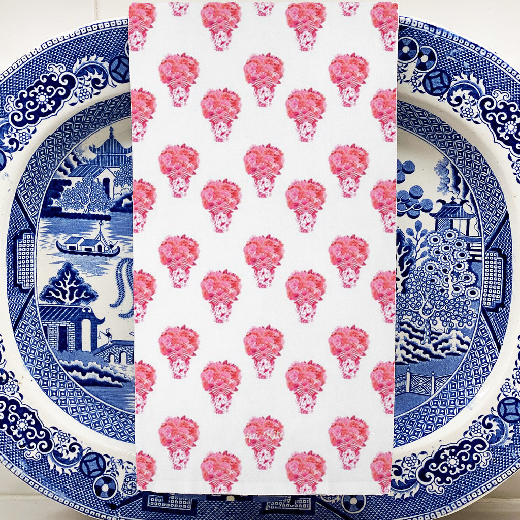 Pink and Red Bouquet Repeat Hand Towel