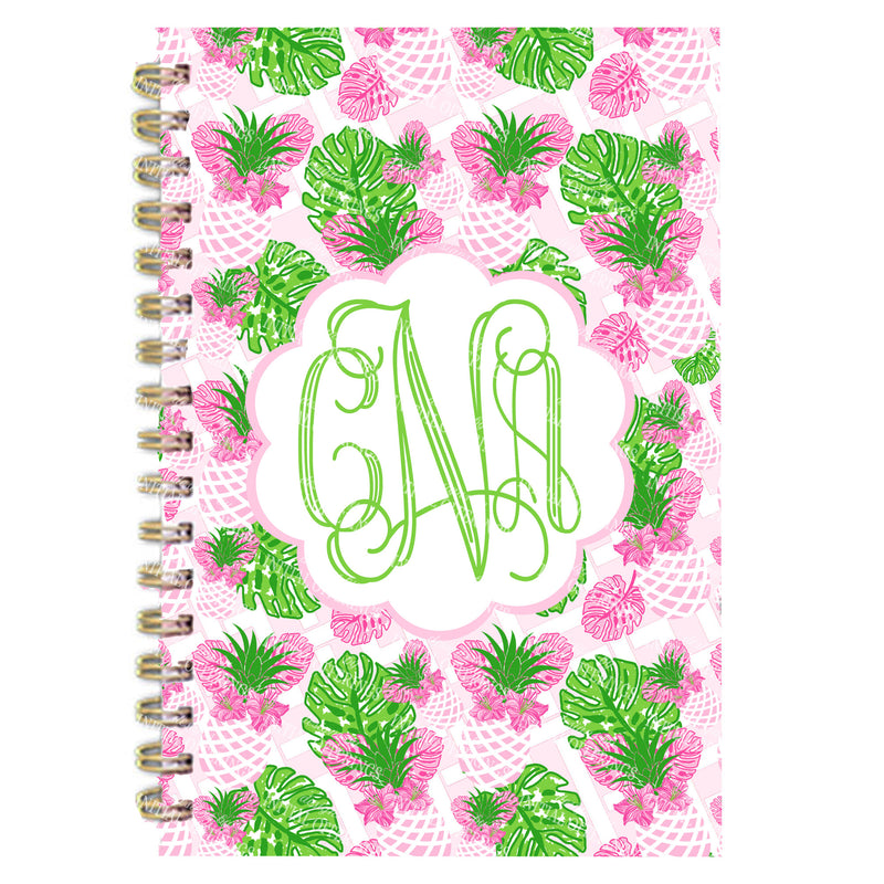 Pink Pineapple Print Monogram Journal Notebook