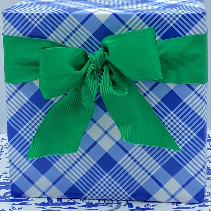 Blue and White Plaid Gift Wrap Paper