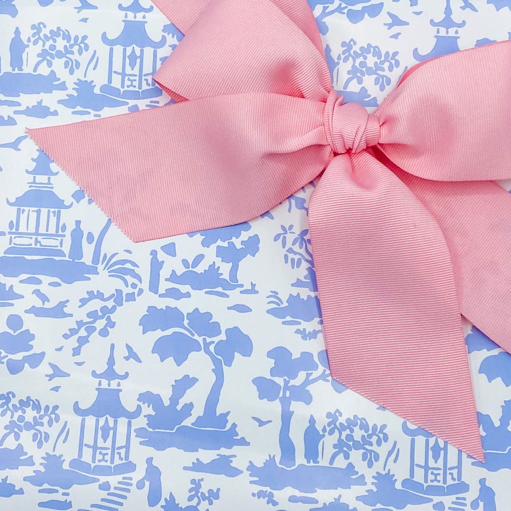 Cornflower and White Pagoda Toile Gift Wrap Paper