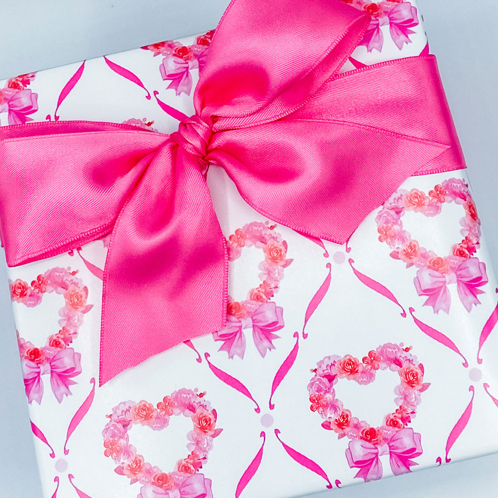 Pink Floral Heart Gift Wrap Paper