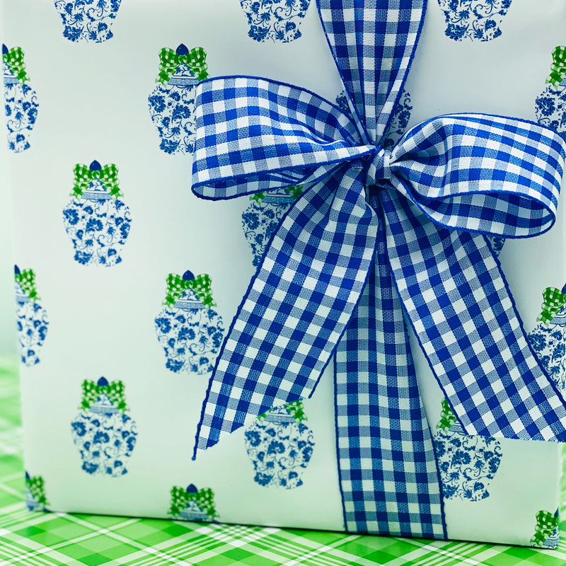 Ginger Jar with Green Gingham Bow Gift Wrap Paper