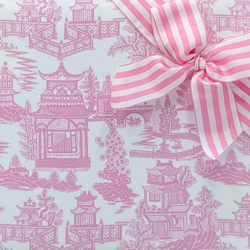 Pagoda Chinoiserie in Light Pink Gift Wrap Paper