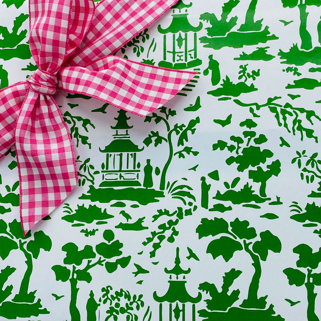 Green and White Pagoda Toile Gift Wrap Paper