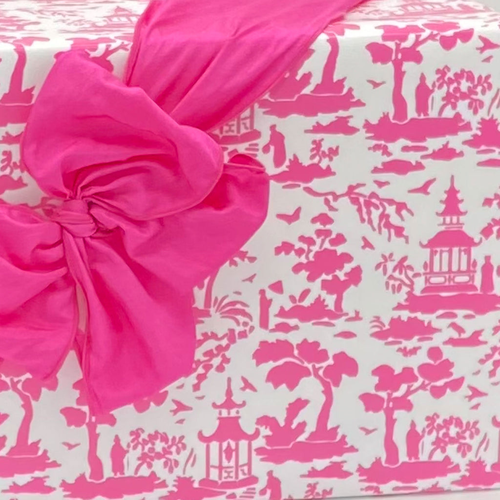Pink and White Pagoda Toile Gift Wrap Paper