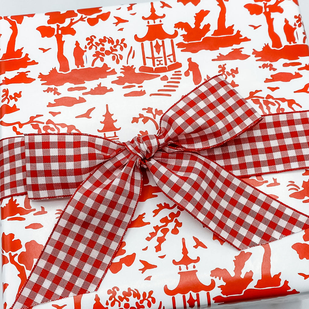 Red and White Pagoda Toile Gift Wrap Paper