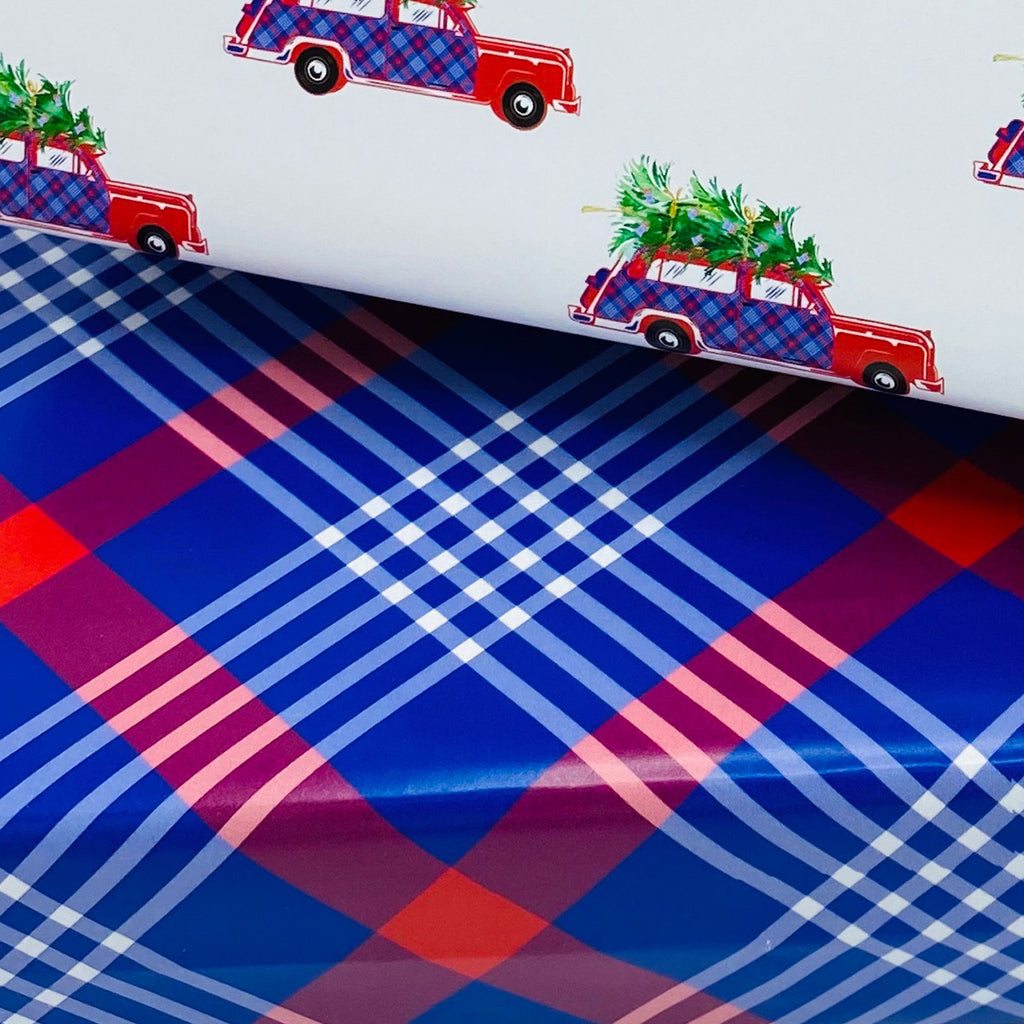 Red and Blue Plaid Gift Wrap Paper