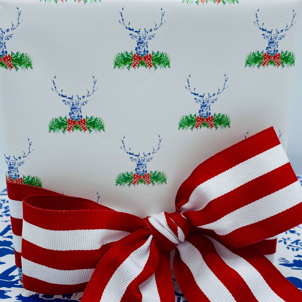 Red and Blue Pagoda Toile Stag Head Swag Gift Wrap Paper