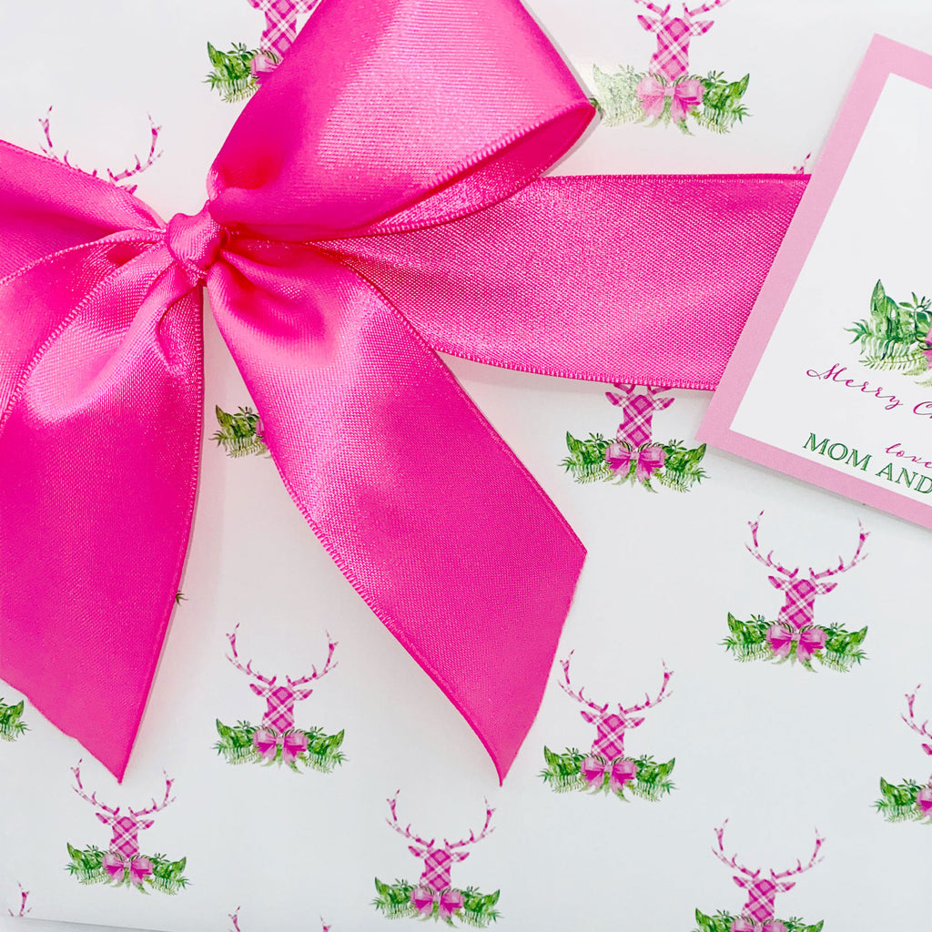 Pink and White Plaid Stag Head Swag Gift Wrap Paper