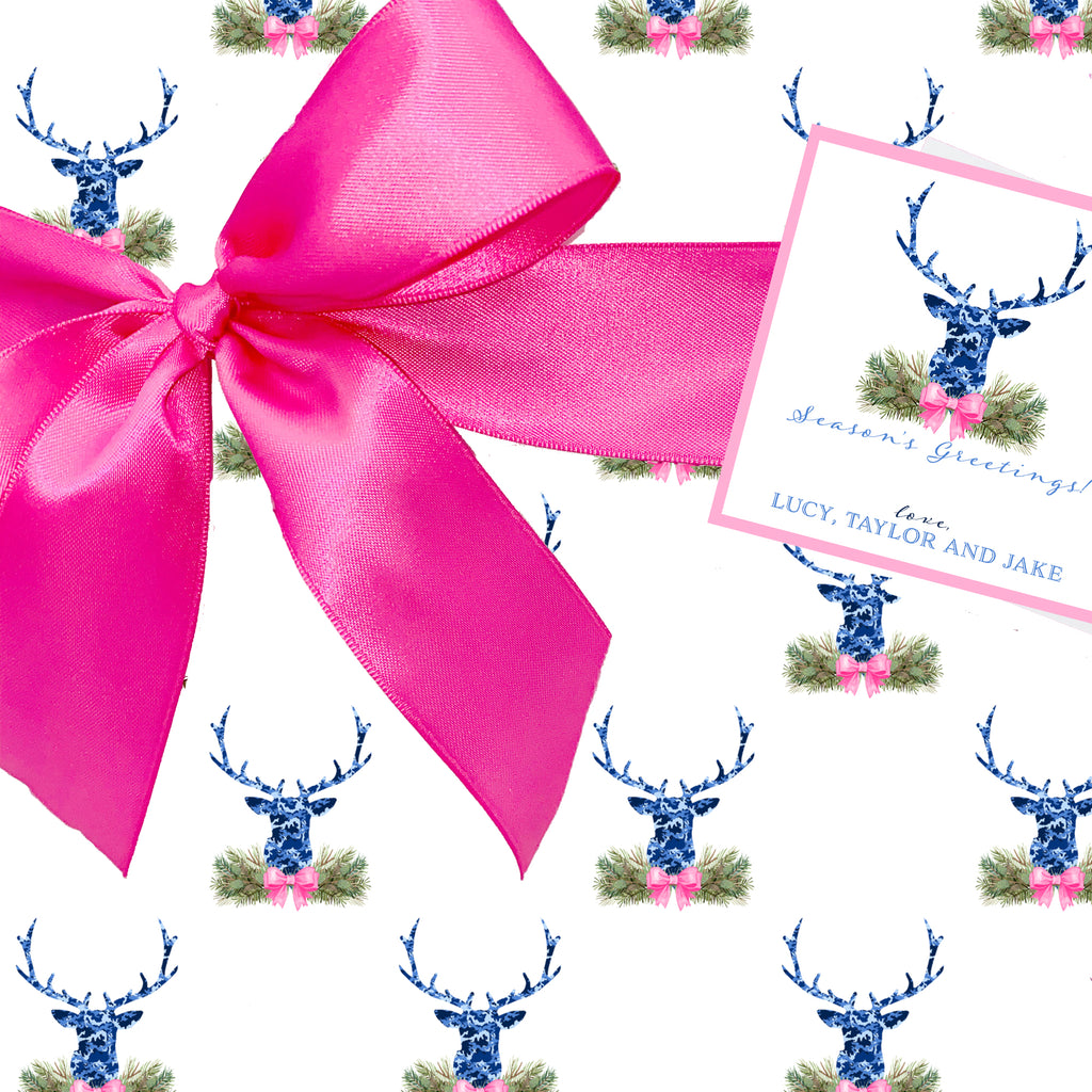 Blue Camo Stag Head Swag Gift Wrap Paper