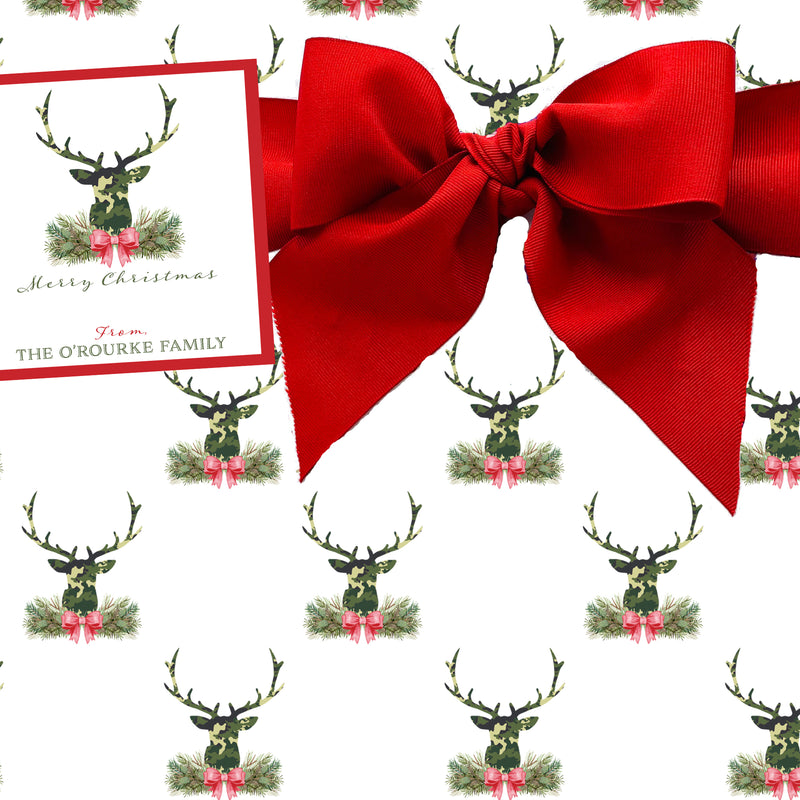 Green Camo Stag Head Swag Gift Wrap Paper