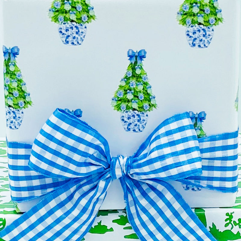 Blue and Green Christmas Tree Gift Wrap Paper