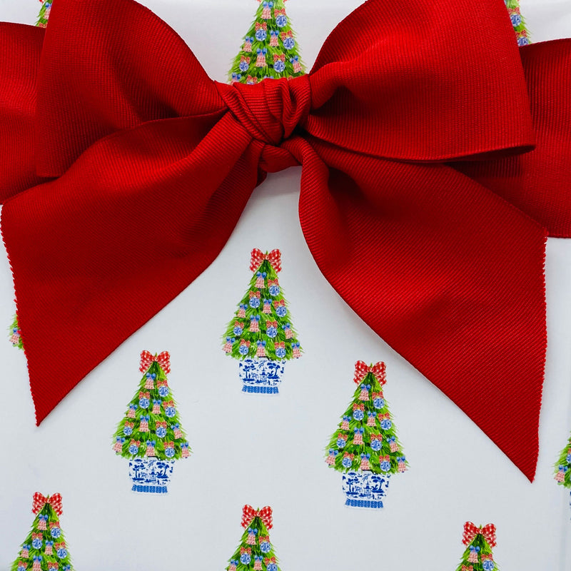 Red and Blue Christmas Tree Gift Wrap Paper
