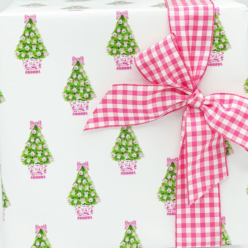 Pink and Green Christmas Tree Gift Wrap Paper