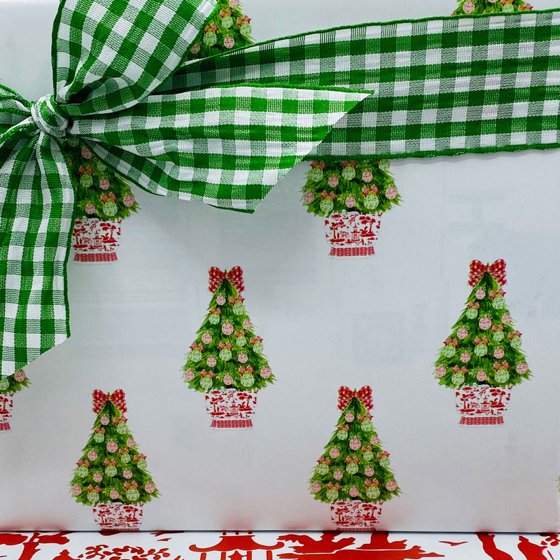 Red and Green Christmas Tree Gift Wrap Paper
