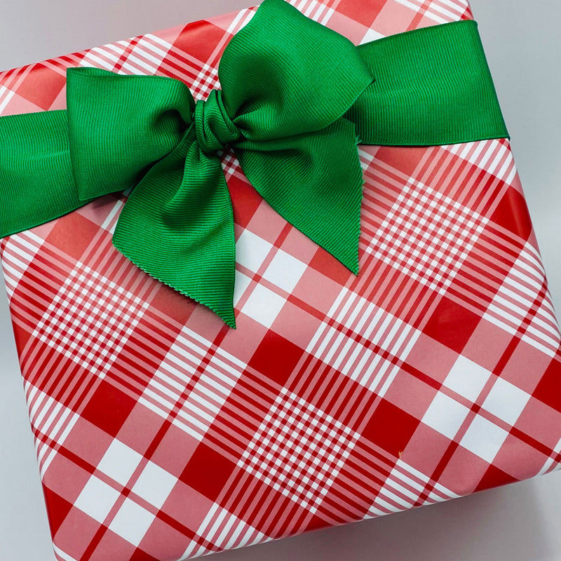 Red and White Plaid Gift Wrap Paper