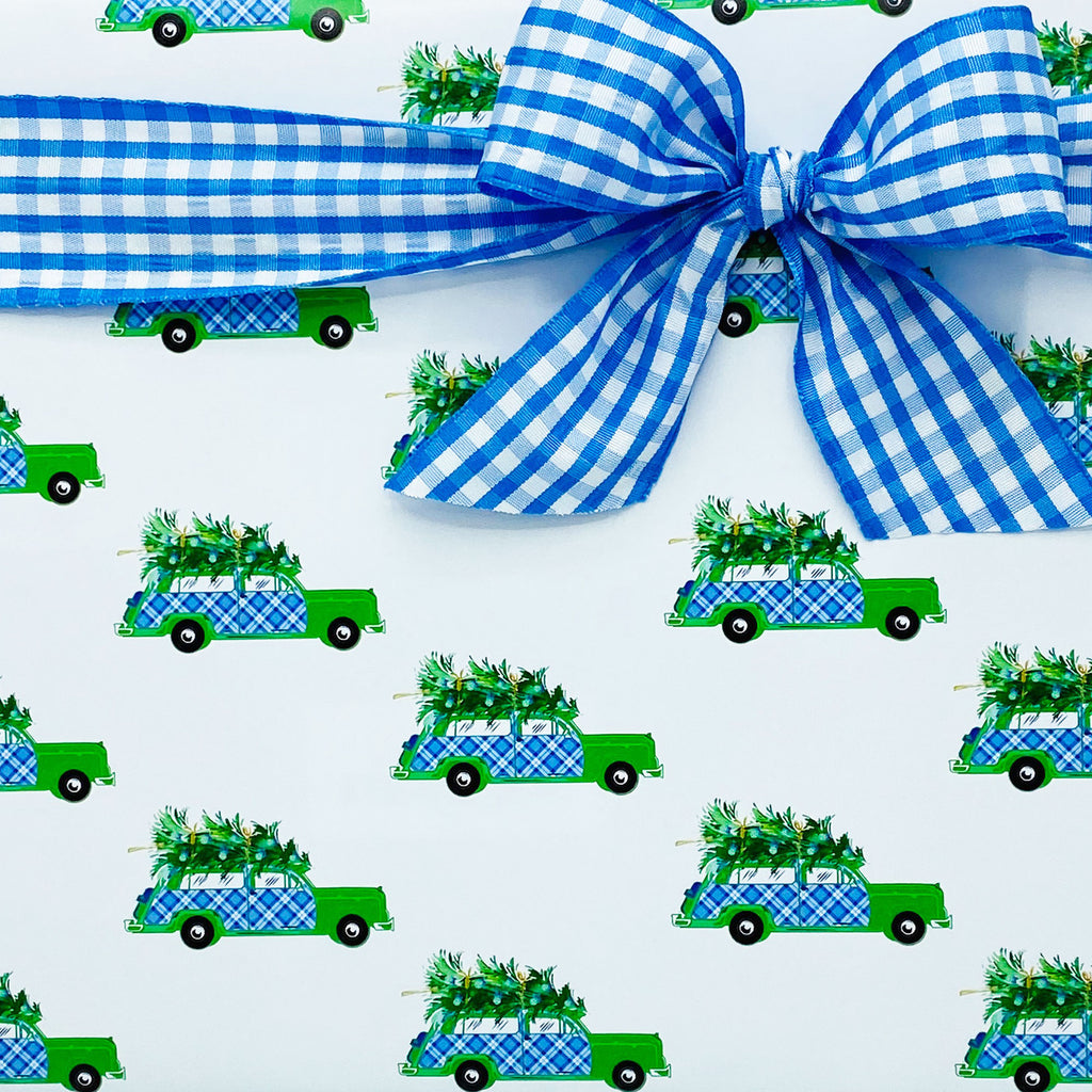 Blue and White Plaid Woody Wagon Gift Wrap Paper