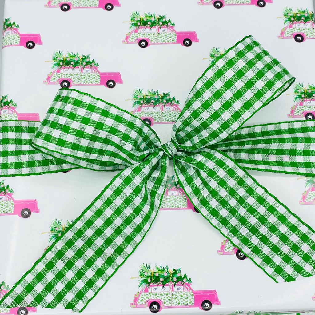 Pink and Green Palm Print Woody Wagon Gift Wrap Paper