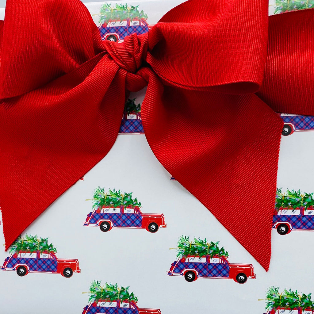 Red and Blue Plaid Woody Wagon Gift Wrap Paper