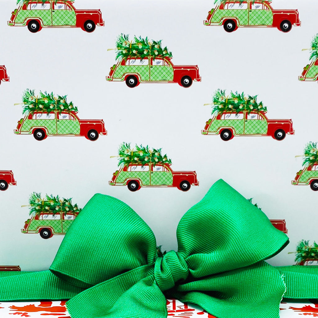 Red and Green Plaid Woody Wagon Gift Wrap Paper