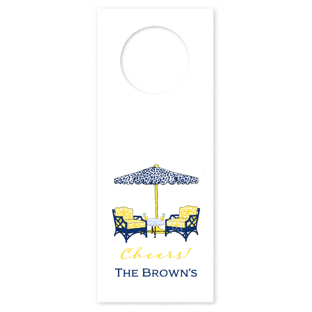 Cocktails Navy and Yellow Wine Bottle Tags