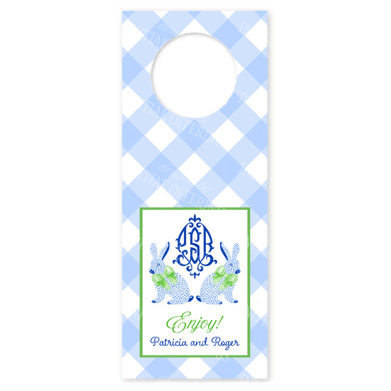 Blue Bunnies Bottle Gift Tags with Monogram