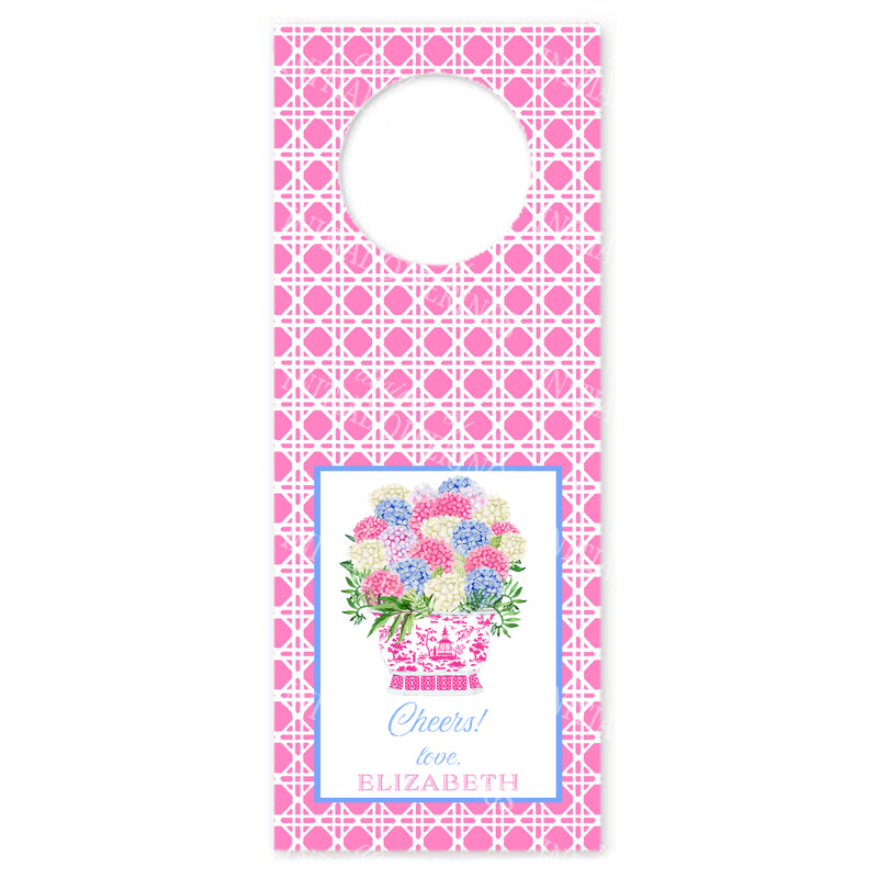 Bouquet Pink Blue Hydrangeas Pink Wicker Wine Bottle Tags