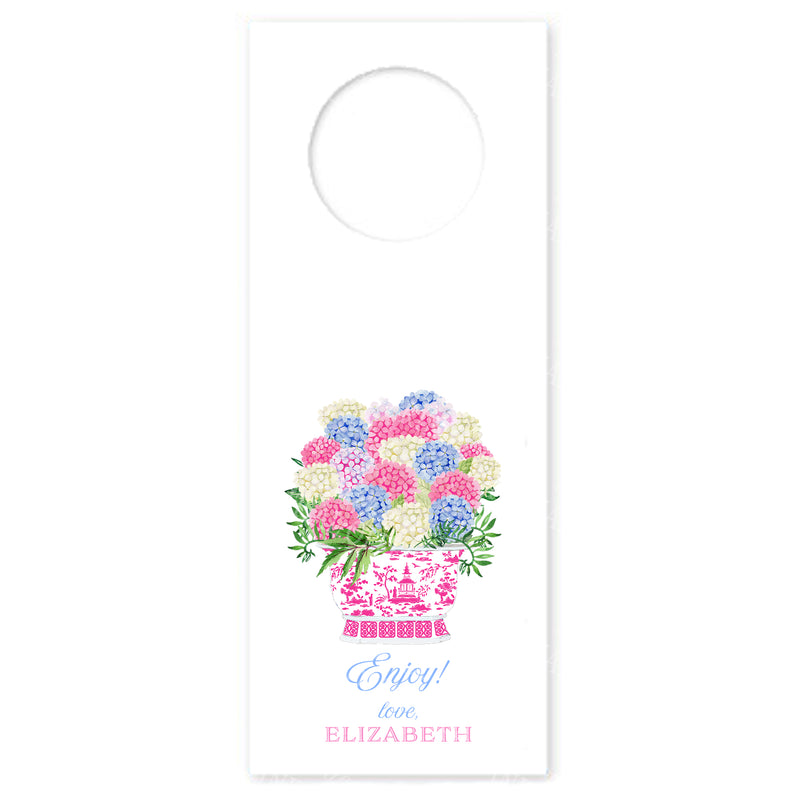 Bouquet Pink Blue Hydrangeas Wine Bottle Tags