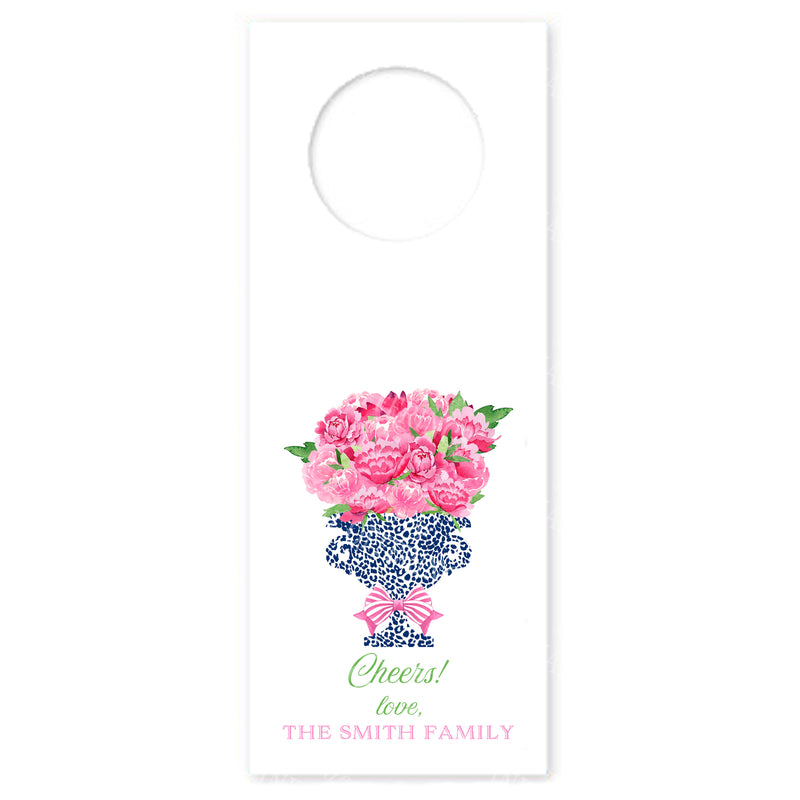 Bouquet Pink Peonies in Navy Cheetah Urn Wine Bottle Tags