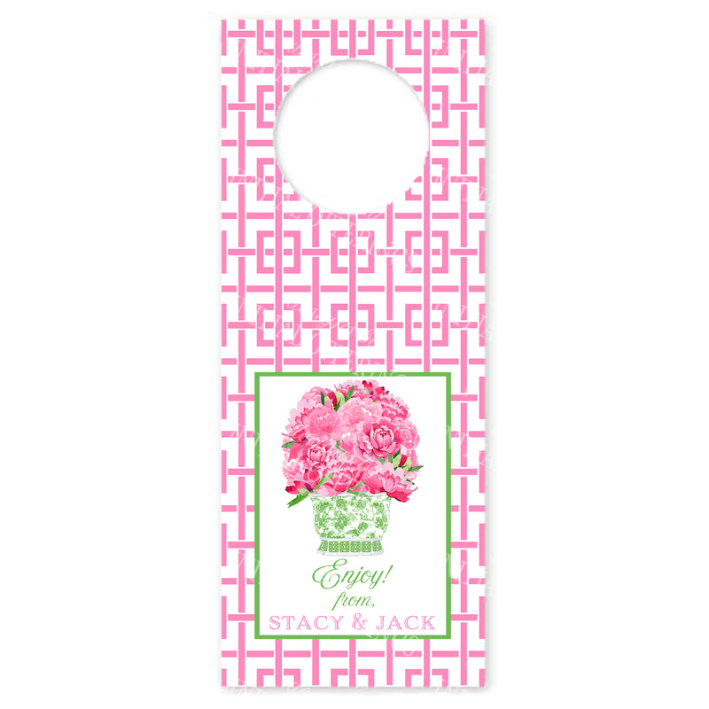 Bouquet Pink Peonies in Green Planter Pink Trellis Wine Bottle Tags