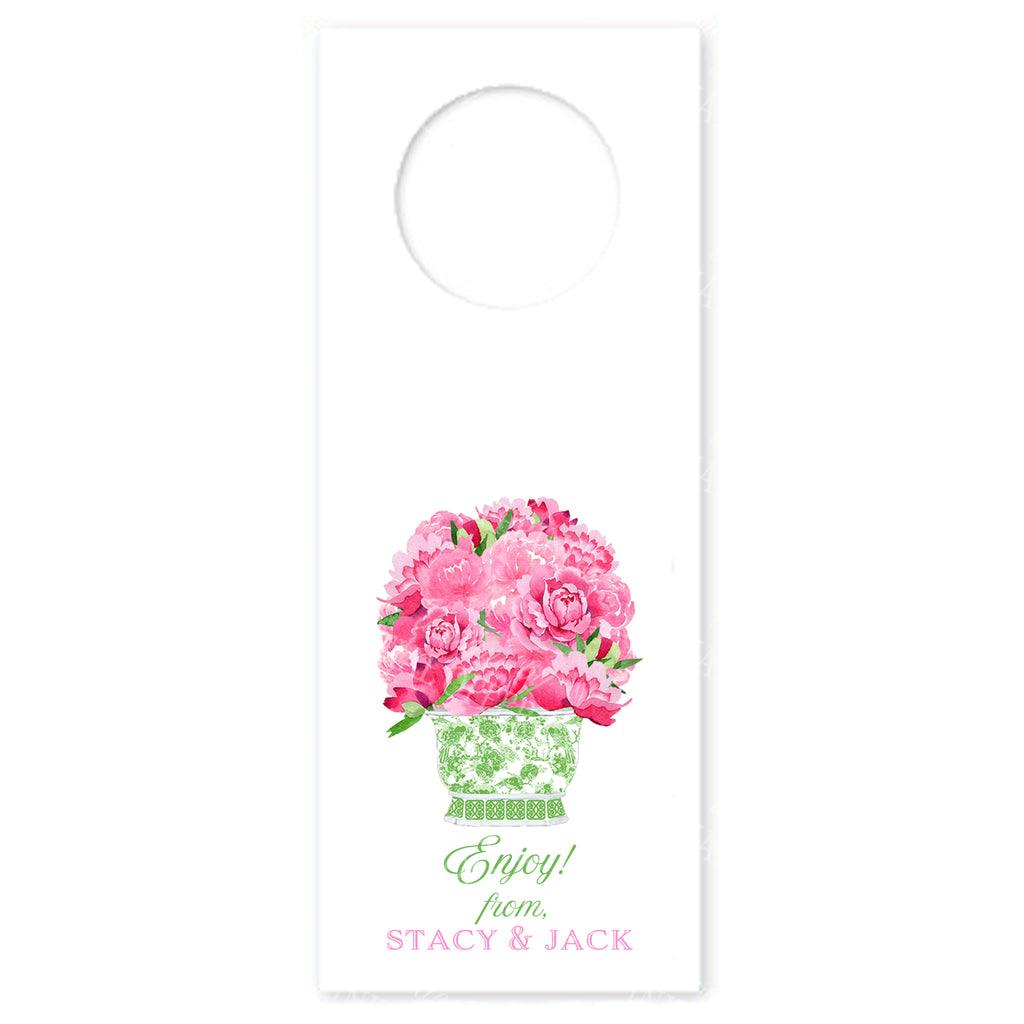 Bouquet Pink Peonies in Green Planter Wine Bottle Tags