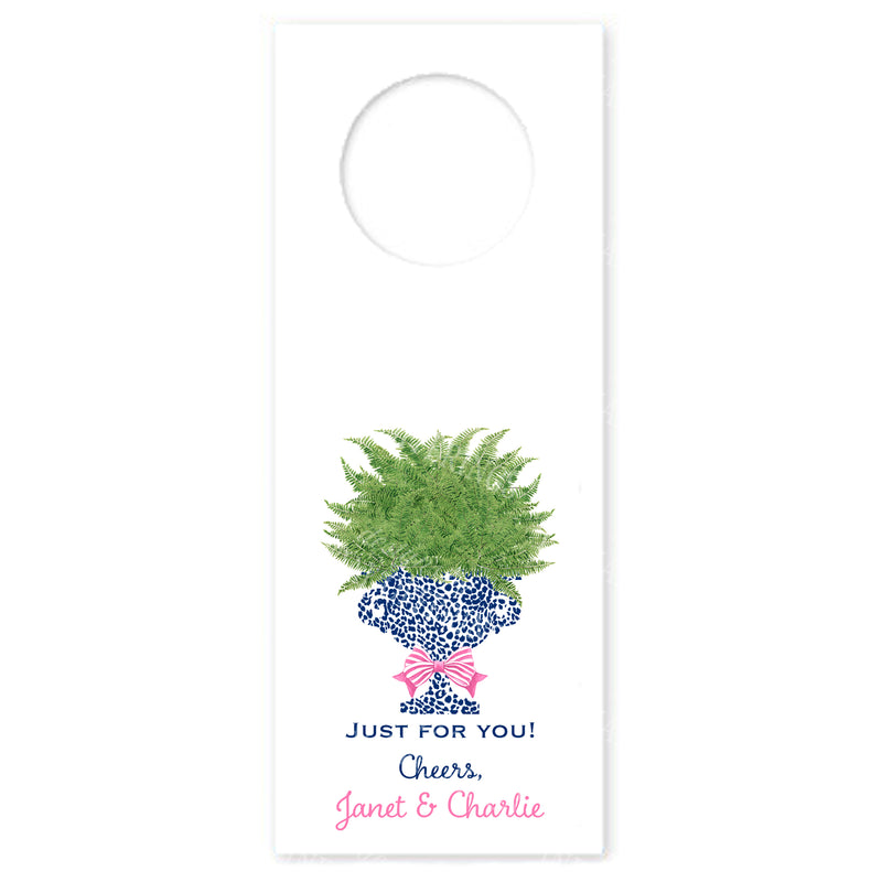 Fern in Navy Cheetah Urn Wine Bottle Tags