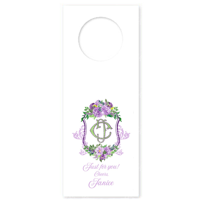 Floral Crest Lavender and Green Wine Bottle Tags