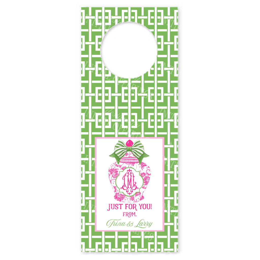 Ginger Jar Pink with Green Bow and Trellis Wine Bottle Tags